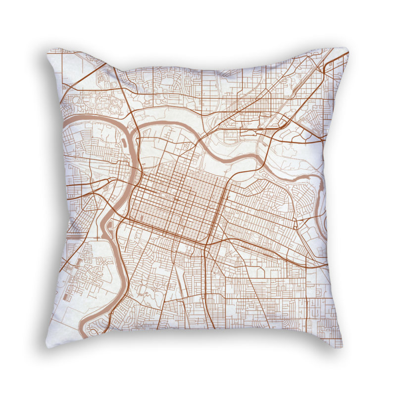 Sacramento CA City Map Art Decorative Throw Pillow