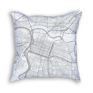 Sacramento California City Map Art Decorative Throw Pillow