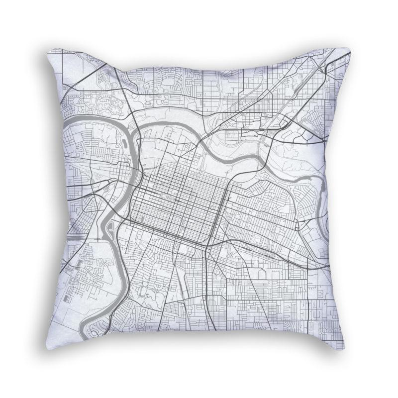 Sacramento California City Map Art Decorative Throw Pillow