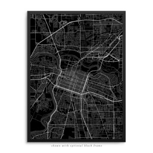 Sacramento CA City Street Map Black Poster
