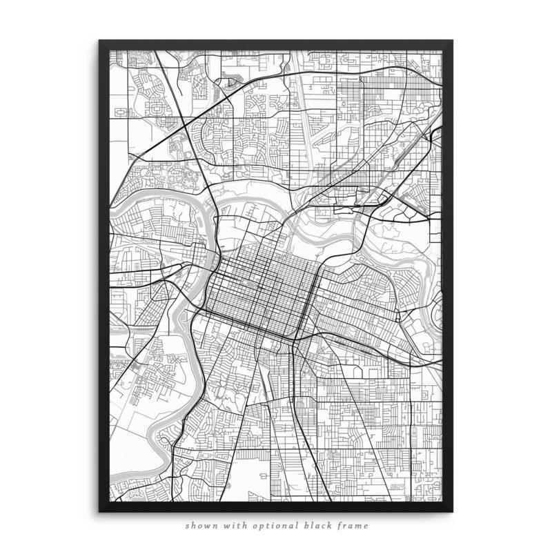 Sacramento CA City Street Map White Poster