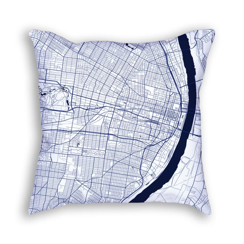 Saint Louis Missouri City Map Art Decorative Throw Pillow