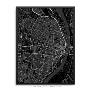 Saint Louis MO City Street Map Black Poster