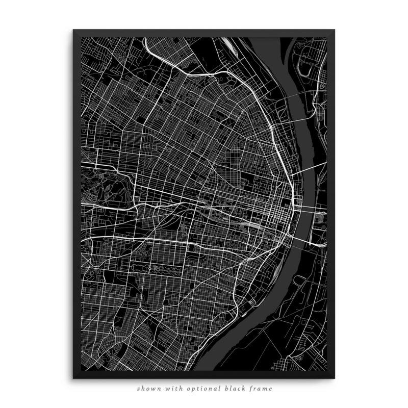 Saint Louis MO City Street Map Black Poster