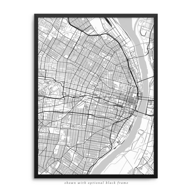 Saint Louis MO City Street Map White Poster