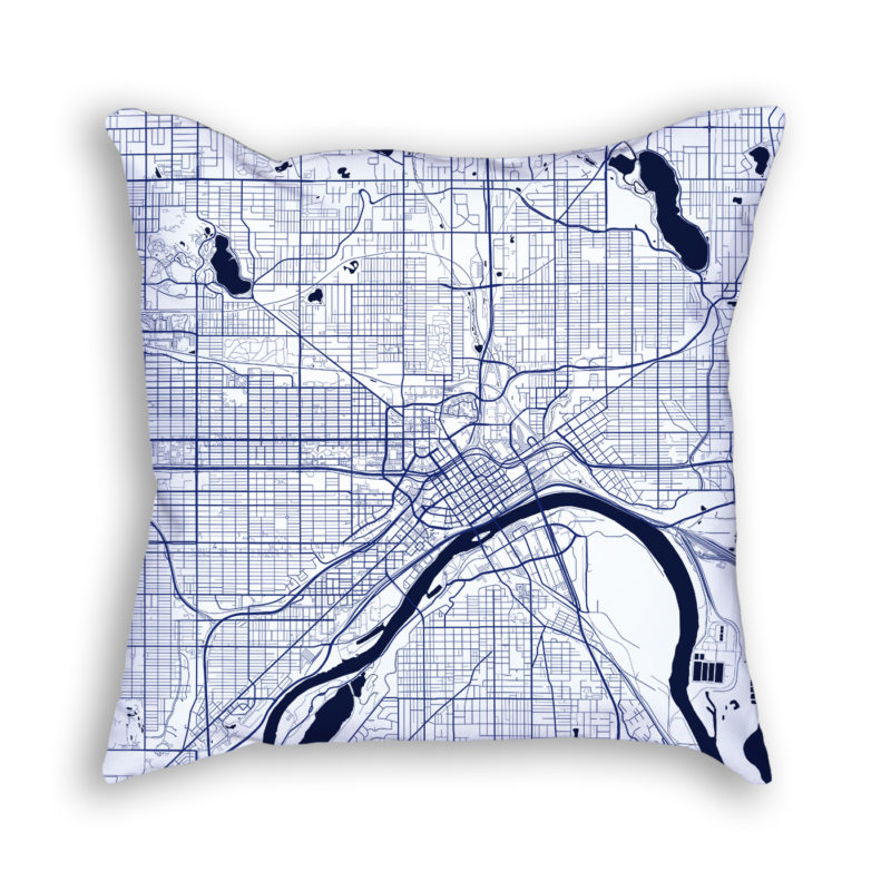 Saint Paul Minnesota City Map Art Decorative Throw Pillow