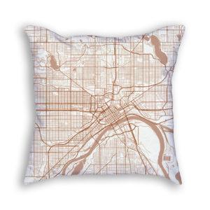 Saint Paul Minnesota City Map Art Decorative Throw Pillow