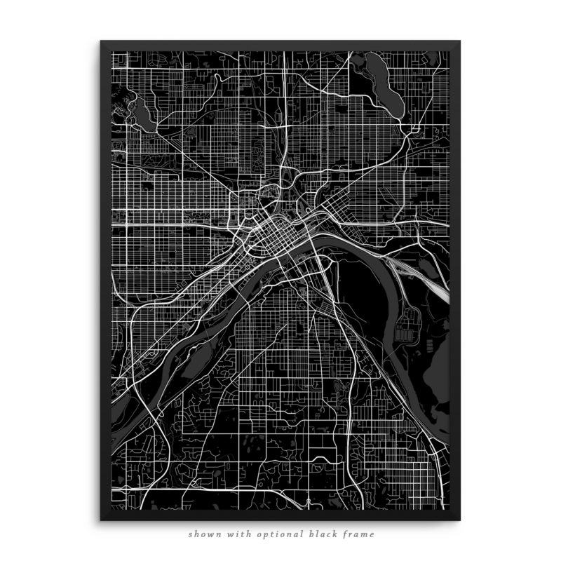 Saint Paul MN City Street Map Black Poster