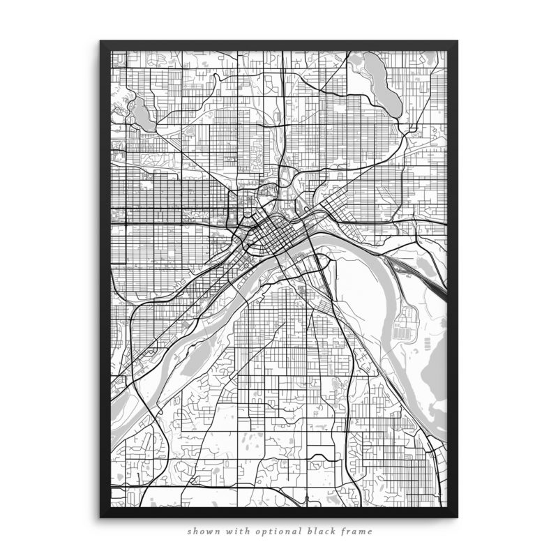 Saint Paul MN City Street Map White Poster