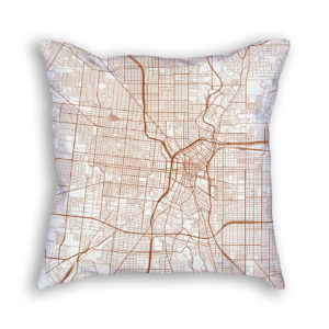 San Antonio TX City Map Art Decorative Throw Pillow
