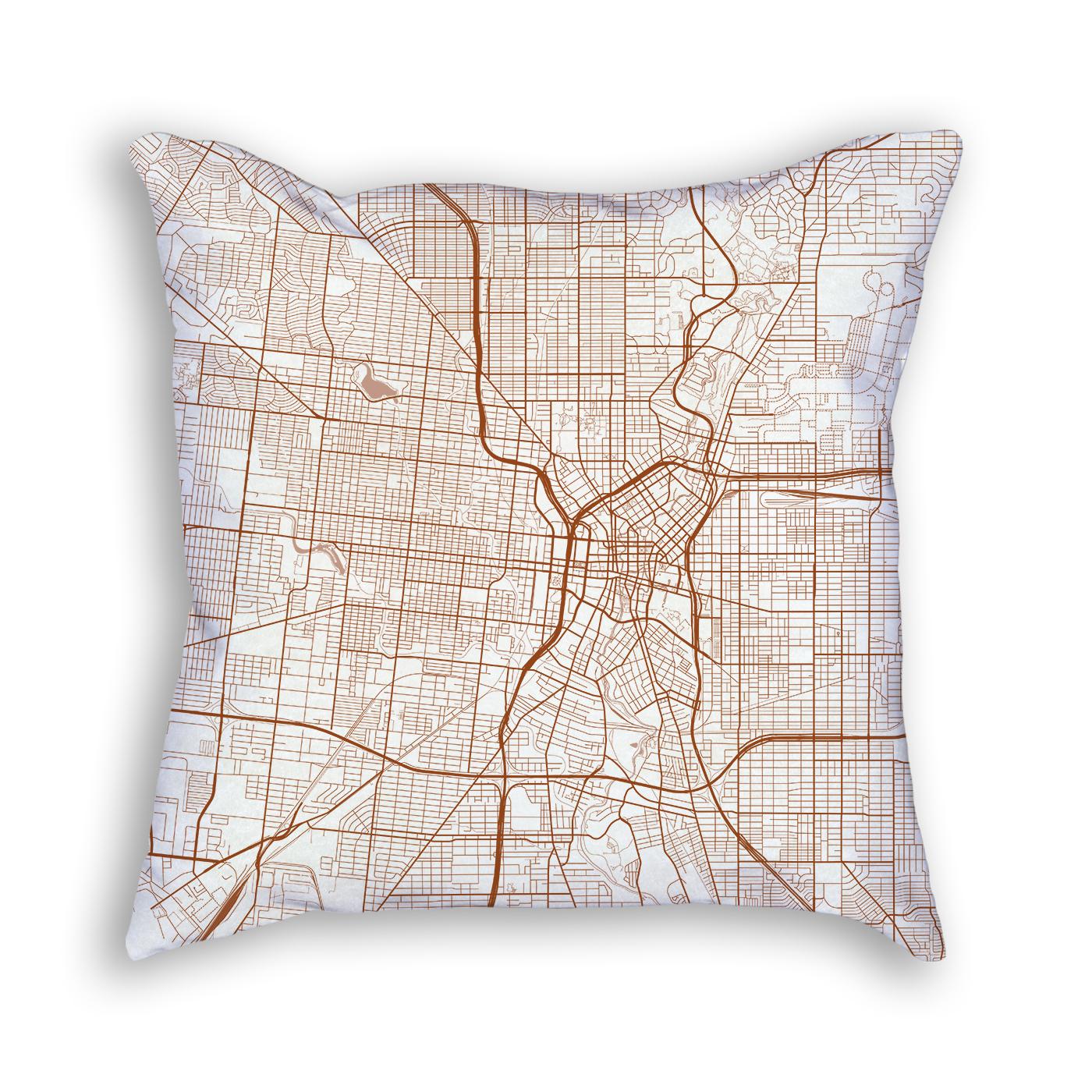 San Antonio TX City Map Art Decorative Throw Pillow