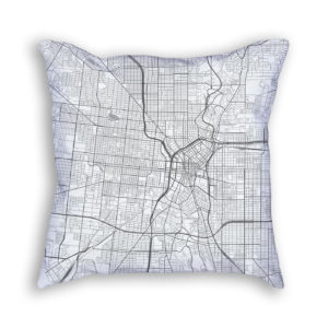 San Antonio Texas City Map Art Decorative Throw Pillow