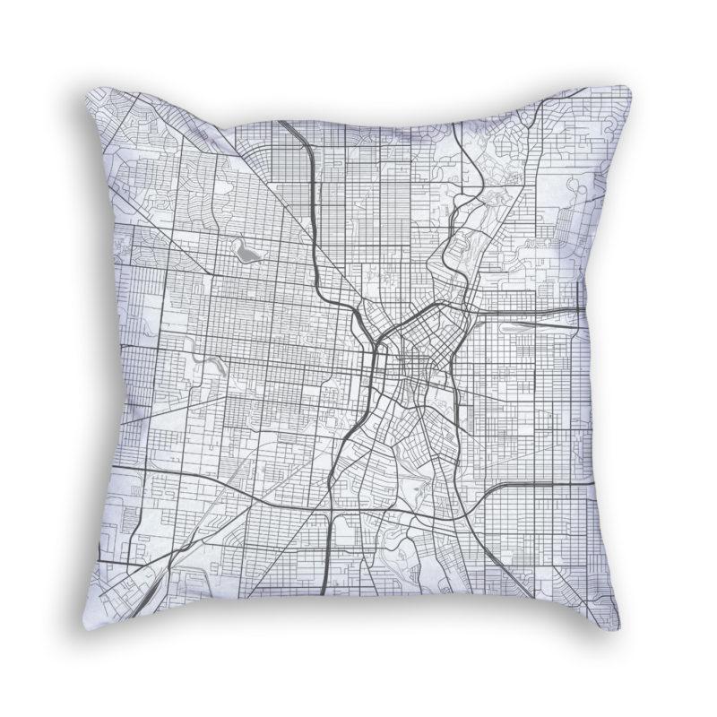 San Antonio Texas City Map Art Decorative Throw Pillow