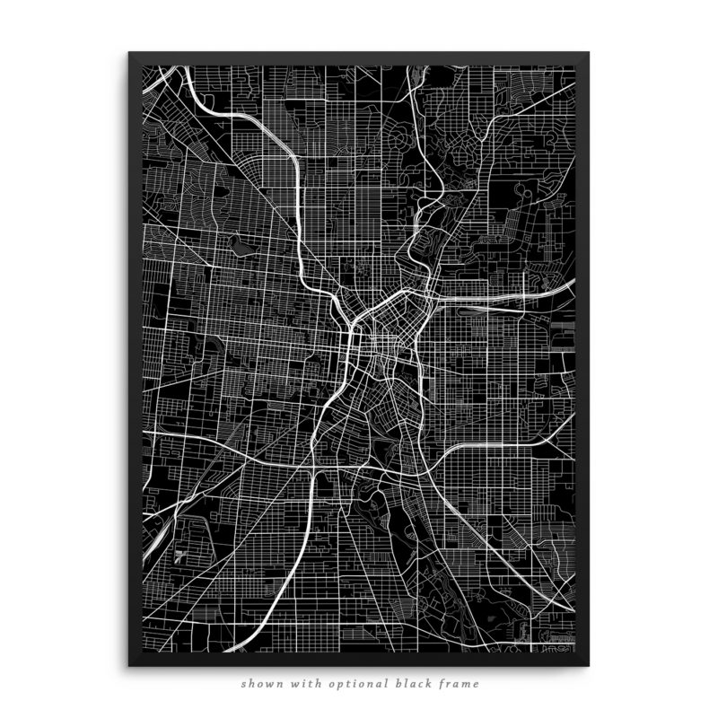San Antonio TX City Street Map Black Poster