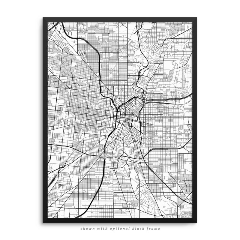 San Antonio TX City Street Map White Poster