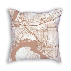 San Diego CA City Map Art Decorative Throw Pillow