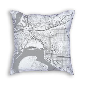 San Diego California City Map Art Decorative Throw Pillow
