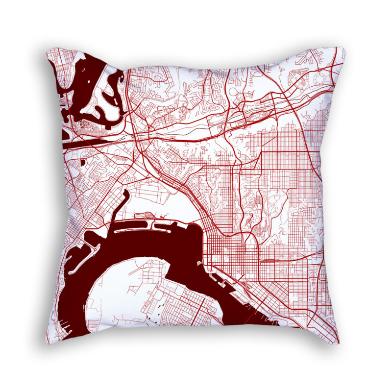 San Diego California City Map Art Decorative Throw Pillow