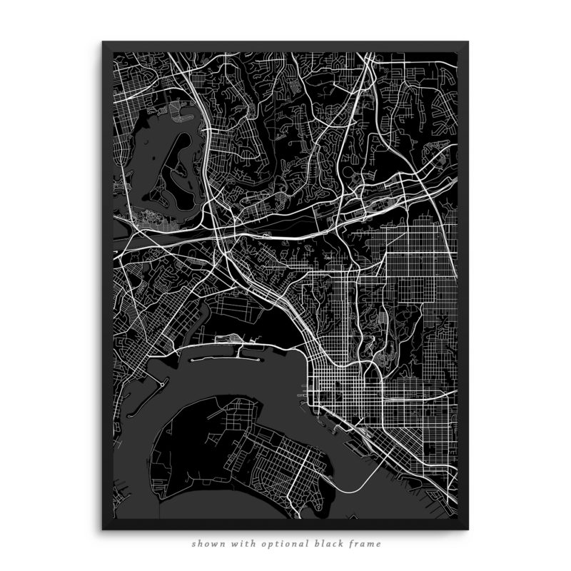 San Diego CA City Street Map Black Poster