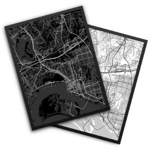 San Diego CA City Map Decor