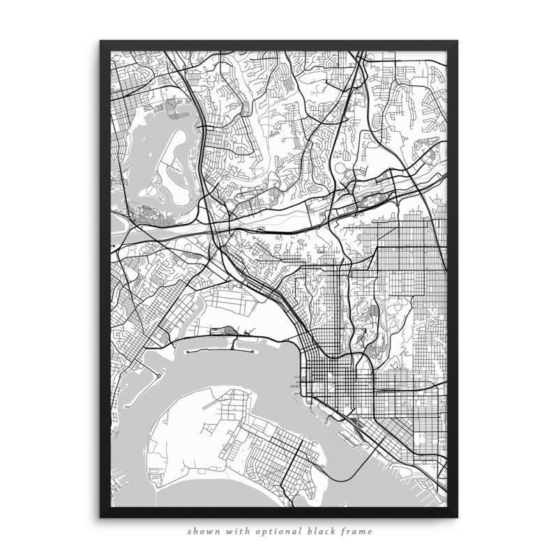 San Diego CA City Street Map White Poster