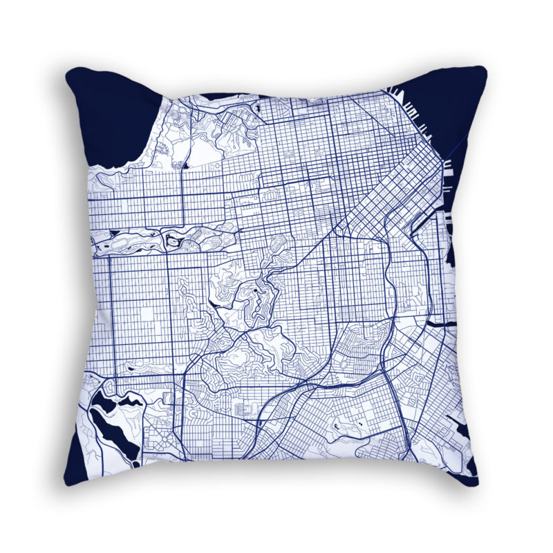 San Francisco California City Map Art Decorative Throw Pillow