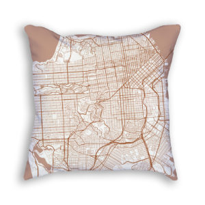 San Francisco CA City Map Art Decorative Throw Pillow