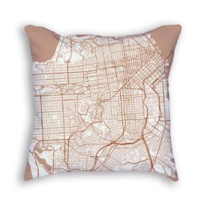 San Francisco CA City Map Art Decorative Throw Pillow