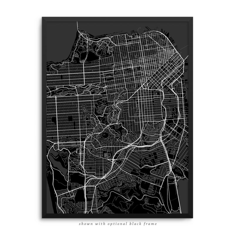 San Francisco CA City Street Map Black Poster