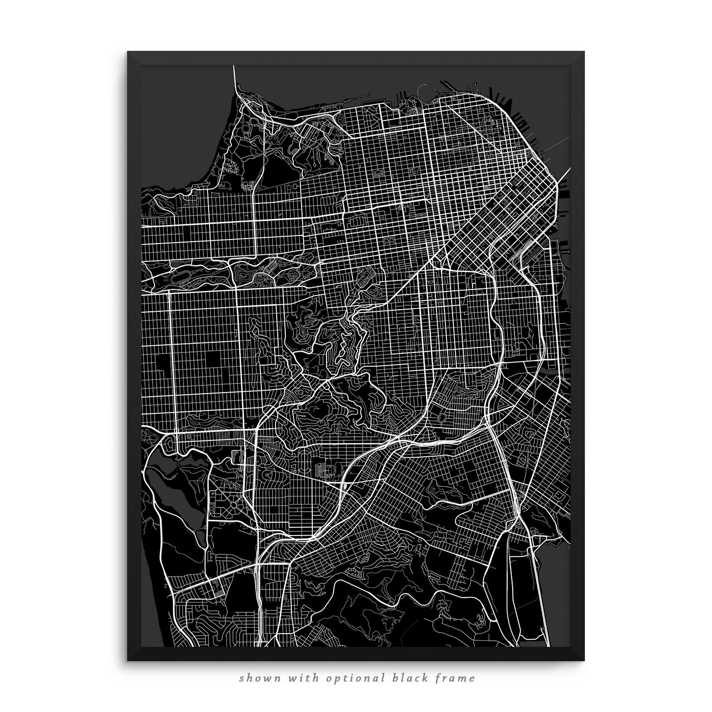 San Francisco California Poster City Map Decor
