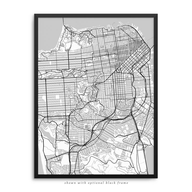 CA City Street Map White Poster