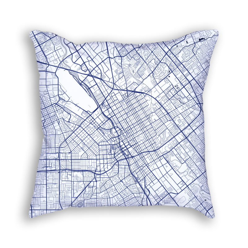 San Jose California City Map Art Decorative Throw Pillow
