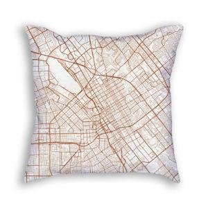 San Jose CA City Map Art Decorative Throw Pillow