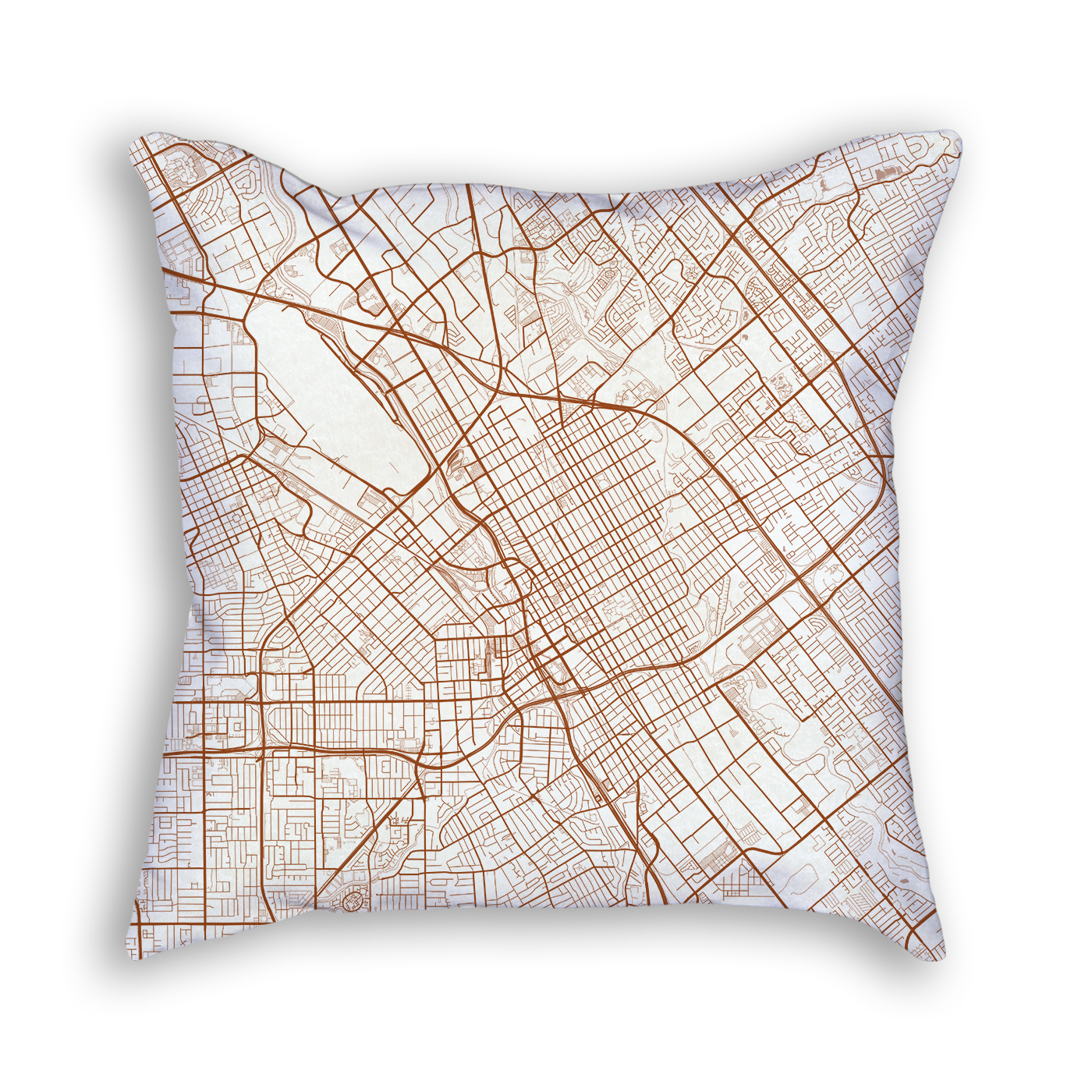 San Jose CA City Map Art Decorative Throw Pillow