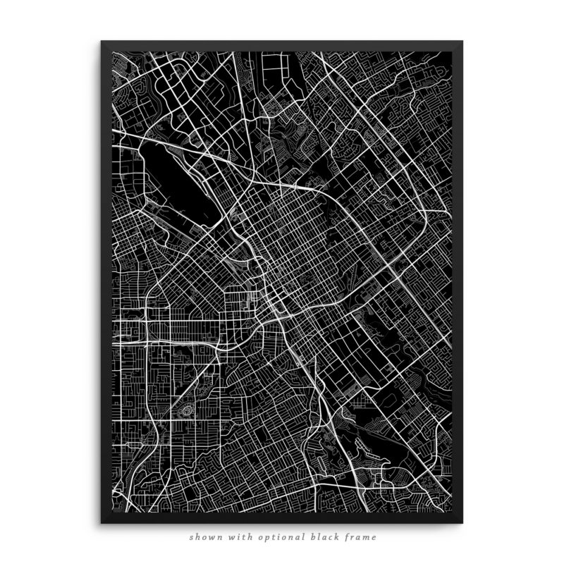 San Jose CA City Street Map Black Poster