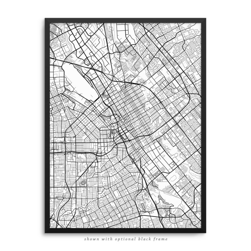 San Jose CA City Street Map White Poster