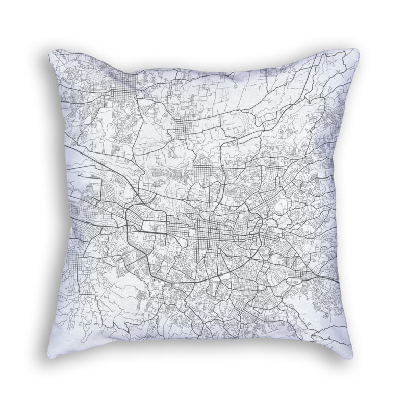 San Jose Costa Rica City Map Art Decorative Throw Pillow