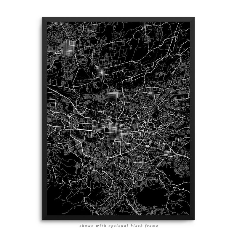 San Jose Costa Rica City Street Map Black Poster