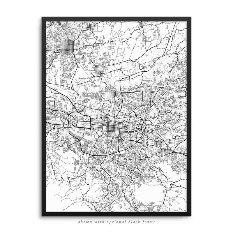 San Jose Costa Rica City Street Map White Poster