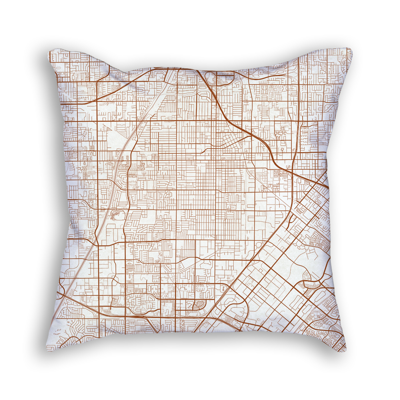 Santa Ana CA City Map Art Decorative Throw Pillow