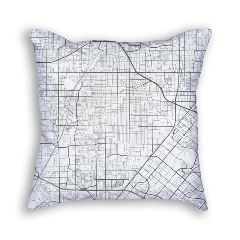 Santa Ana California City Map Art Decorative Throw Pillow