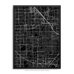 Santa Ana CA City Street Map Black Poster