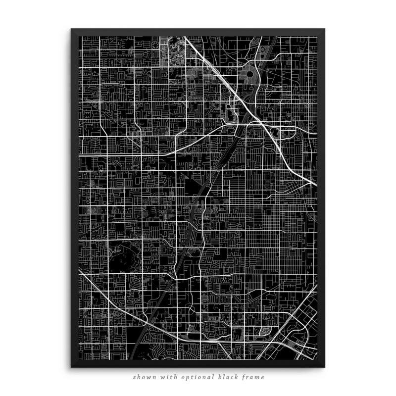Santa Ana CA City Street Map Black Poster