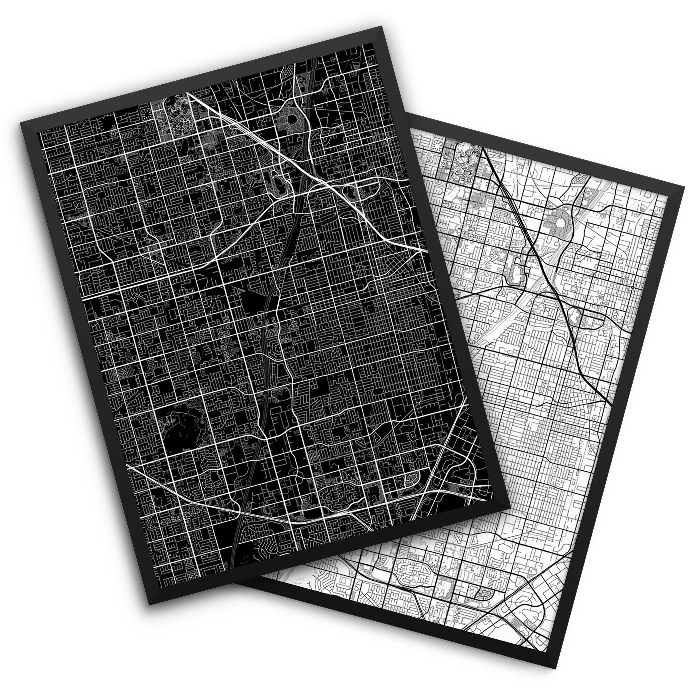 Santa Ana CA City Map Decor