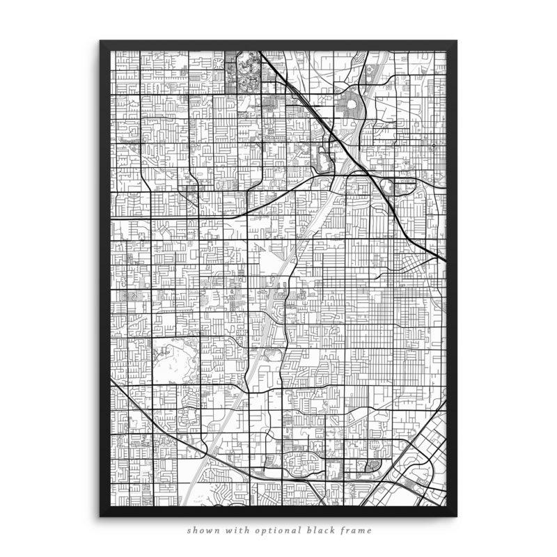 Santa Ana CA City Street Map White Poster