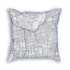 Santiago Chile City Map Art Decorative Throw Pillow