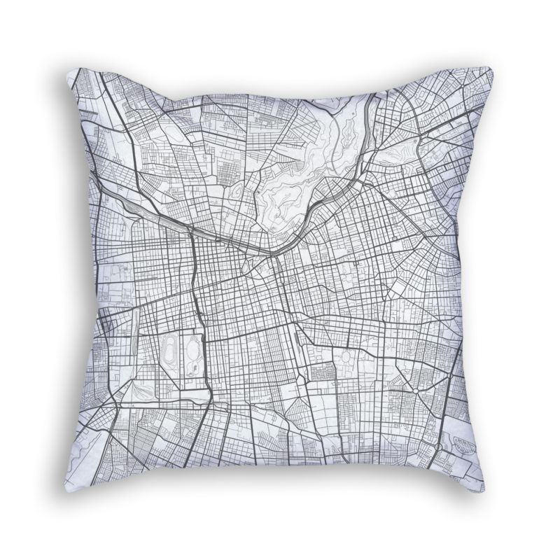 Santiago Chile City Map Art Decorative Throw Pillow
