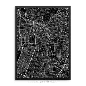 Santiago Chile City Street Map Black Poster