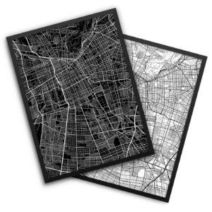 Santiago Chile City Map Decor