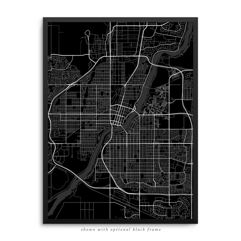 Saskatoon Canada City Street Map Black Poster